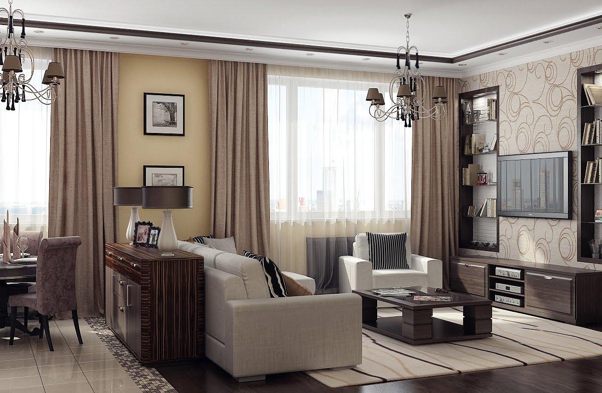 Дизайн зала в частном доме с двумя окнами фото