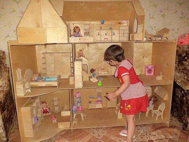 Домик для куклы своими руками из фанеры
